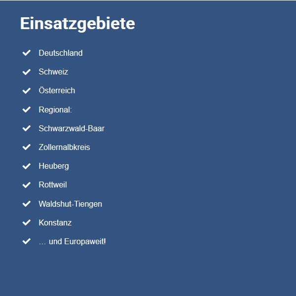 Einsatzgebiete in  Niedereschach