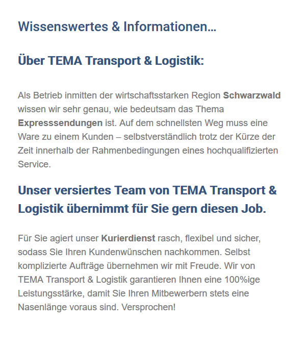 Transportfirma in  Aldingen